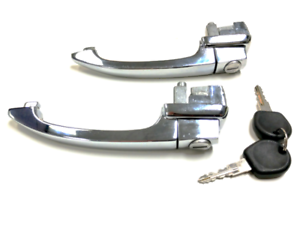 PAIR VW BUG LEFT /& RIGHT DOOR HANDLE SET W// 2 KEYS KEYED ALIKE TYPE1 1964-1966
