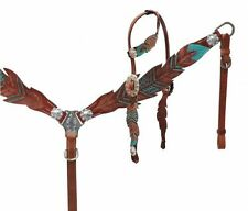 Teal Painted Feather Medium Oil Leather Bridle Headstall Breast Collar Reins