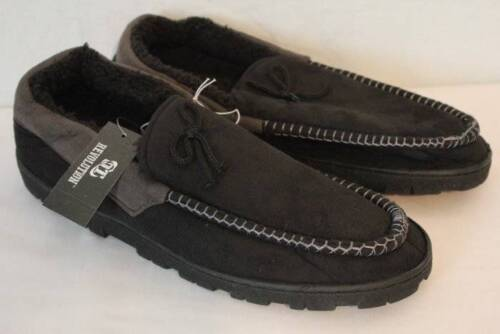 NEW Mens Slippers Black Gray Moccasins Small 8-9 House Shoes In// Outdoor Sole