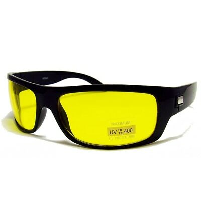 HD High Definition Vision Driving Sunglasses WrapAround Yellow Night Glasses NEW