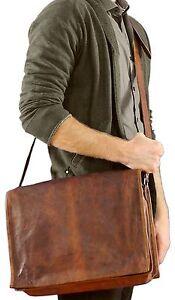 Men-039-s-Genuine-Vintage-Brown-Leather-Messenger-Bag-Shoulder-Laptop-Bag-Briefcase