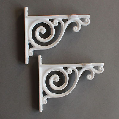 "BR02wx2 2 x WHITE 5x4/"" SMALL ANTIQUE CAST IRON VICTORIAN WALL SHELF BRACKETS"