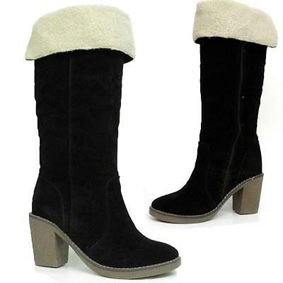 WOMENS LADIES MID CALF KNEE HIGH HEELS BOOTS NEW WINTER FAUX LEATHER SHOES SIZE