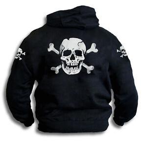 Skull-n-Bones-Mens-Womens-Pirate-Biker-Black-Hoodie-With-Sleeve-Prints-Sm-2XL