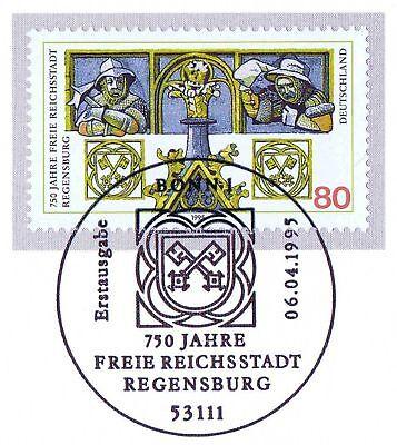 Brd 1995: Regensburg Nr. 1786 Mit Sauberem Bonner Ersttags-sonderstempel! 1a Ausreichende Versorgung