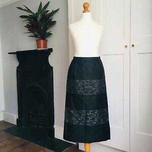 Vintage-1950s-Black-Satin-Lace-Long-Wiggle-Pencil-Pin-Up-Skirt-8