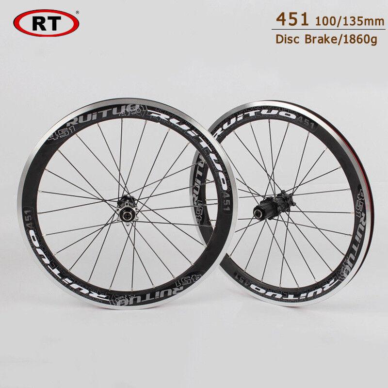 451  Aluminum alloy Bike wheels Front Rear Disc brake BMX Folding Bicycle Rims  up to 70% off