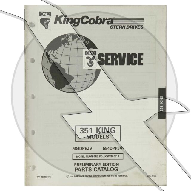 1993 Omc King Cobra Ford 351 5 8l Engine  U0026 Sterndrive Parts Diagram Catalog