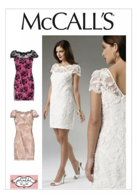McCall's Sewing Pattern  6505 Misses 6-14 Fitted Dress Lined with Lace-Overlay