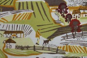 SALE-100-Cotton-Makower-039-s-039-Landscape-039-Print-Fabric-Material-Mustard