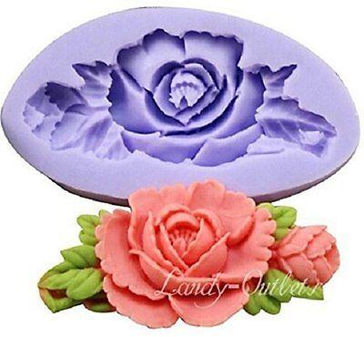 STAMPO IN SILICONE ROSA CON FOGLIE PER USO ARTIGIANALE-COLATA ROSES FLOWER FIORE