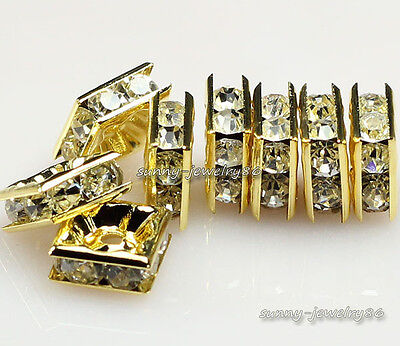 50pcs gold plated Square shape rhinestone crystal spacer beads 6x6mm