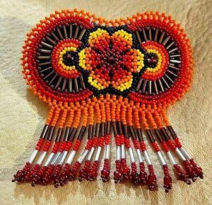 HUICHOL-MEXICAN-HAND-MADE-JEWELRY-BEADED-FOLK-ART-FLOWER-BARRETTE-NEW