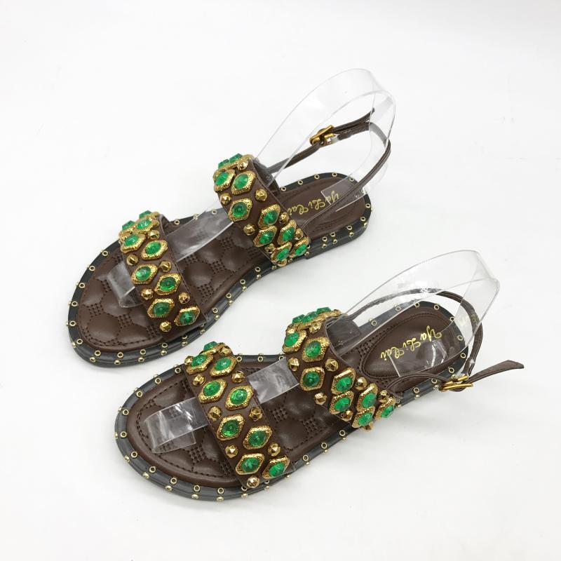 Sandali eleganti bassi  ciabatte Couleurati marron vert pelle sintetica 1002
