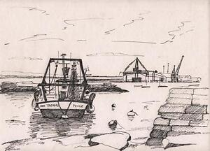 POOLE HARBOUR FROM BAITER Pen & Ink Drawing ARTHUR MITSON 1990