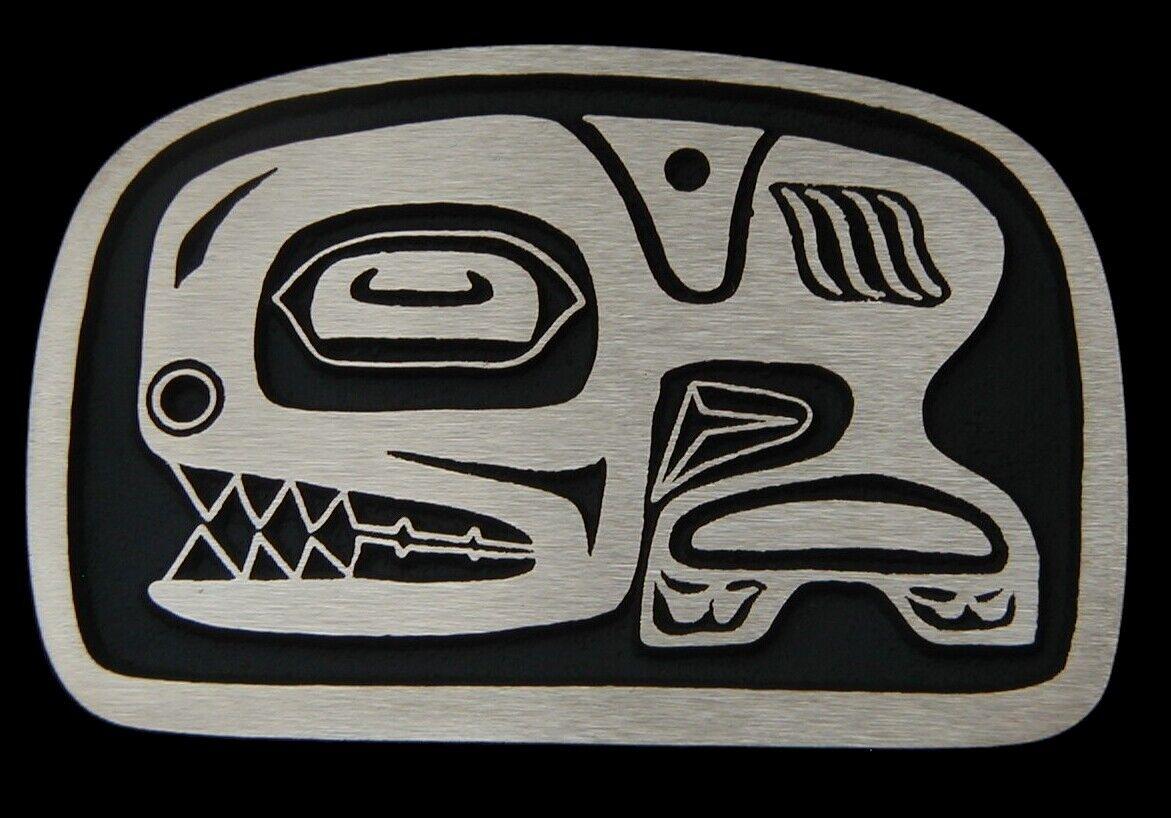 Tlingit Orca Killer Whale Solid Bronze Belt Buckle Rainbow Metals Brand New