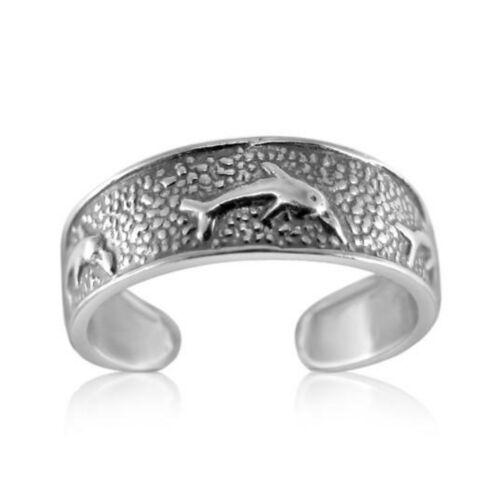Toe Ring Half Finger Open Knuckle Adjustable 925 Sterling Silver Dolphin