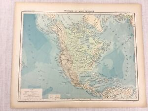 1898-French-Map-of-North-and-Central-America-Physical-19th-C-Antique-Original