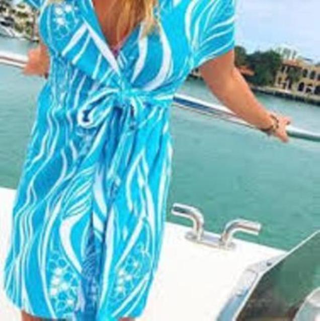 Neu Lilly Pulitzer Laurian Bedeckung Gewickelt Kleid in Resort Weiß Joe Fisch