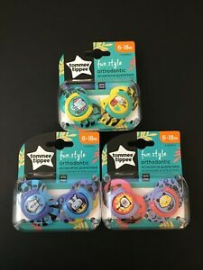 TOMMEE-TIPPEE-FUN-STYLE-6-18-MONTHS-ORTHODONTIC-PACIFIERS-BRAND-NEW-LOT-X3