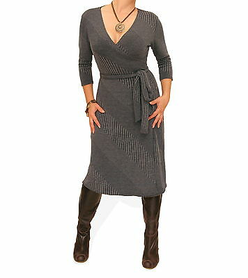 New Grey Ribbed Knitted Wrap Dress - Three Quarter Sleeve