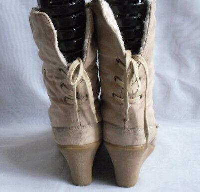 Mujer Nuevo Look Beige Botas al tobillo con cordones Cuña Textil Tamaño: 7/40 (WB980)