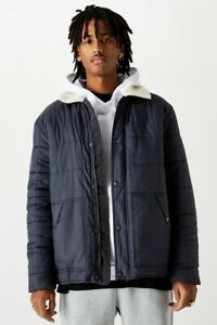 Factorie-Mens-Sherpa-Collar-Quilted-Jacket-Jackets-Knits-In-Blue