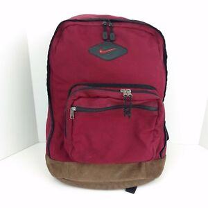 Vintage Nike Backpack Suede Leather Nylon 90s Red Burgundy Bag   eBay ebd98b92ee