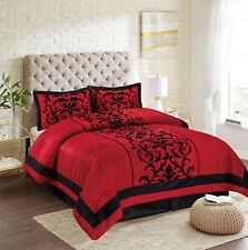 Nanshing Lincoln Comforter Set bed-in-a-bag 7-piece Red//Grey Embriodered