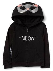 1fd7deb23 New Baby Gap MEOW Kitty Cat Sweatshirt NWT 2T 3T 4T 5T Hoodie Cape ...