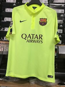 Nike Fc Barcelona Third Jersey 14 15 Neon Luis Suarez 9 Size Mans Large Only Ebay