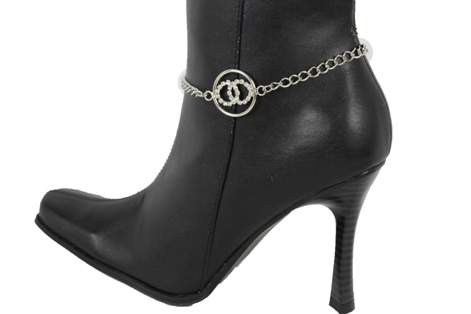 Women Fashion Boot Bracelet Silver Metal Chain Anklet Shoe Bling Circles Charm