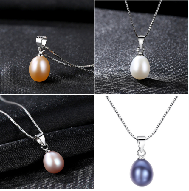 """New Freshwater Pearl 925 Sterling Silver Gemstones Jewelry Pendant Necklace 18/"""""""
