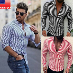 US-Luxury-Fashion-Men-039-s-Slim-Fit-Shirt-Long-Sleeve-Dress-Shirts-Casual-Shirt-Top
