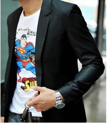 Men/'s Korean Style Slim Fit Casual Suits Lapel Collar Blazer Jacket Black Coat 8