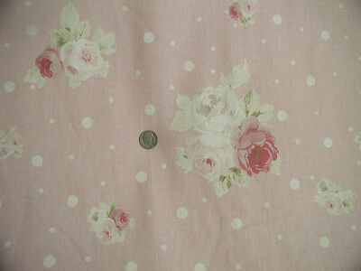 Yuwa Vintage Appeal Gorgeous Pink  Roses on Pink Cream Dots Linen Union