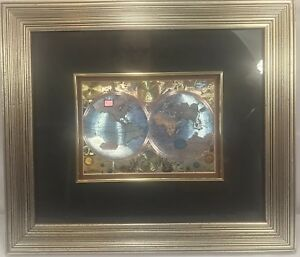 Double Hemisphere World Map In Foil Double Matted Framed Unmarked Ebay