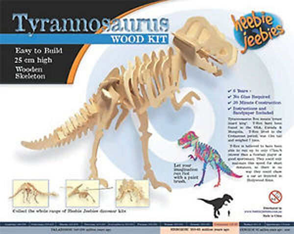 Heebie Jeebies Tyrannasaurus Dinosaur Wood Skeleton Build Your 30cm Long  Model