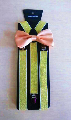 New Man Gold Suspender and Bow Tie Sets for Tuxedo Wedding Suit US Fast Shipping