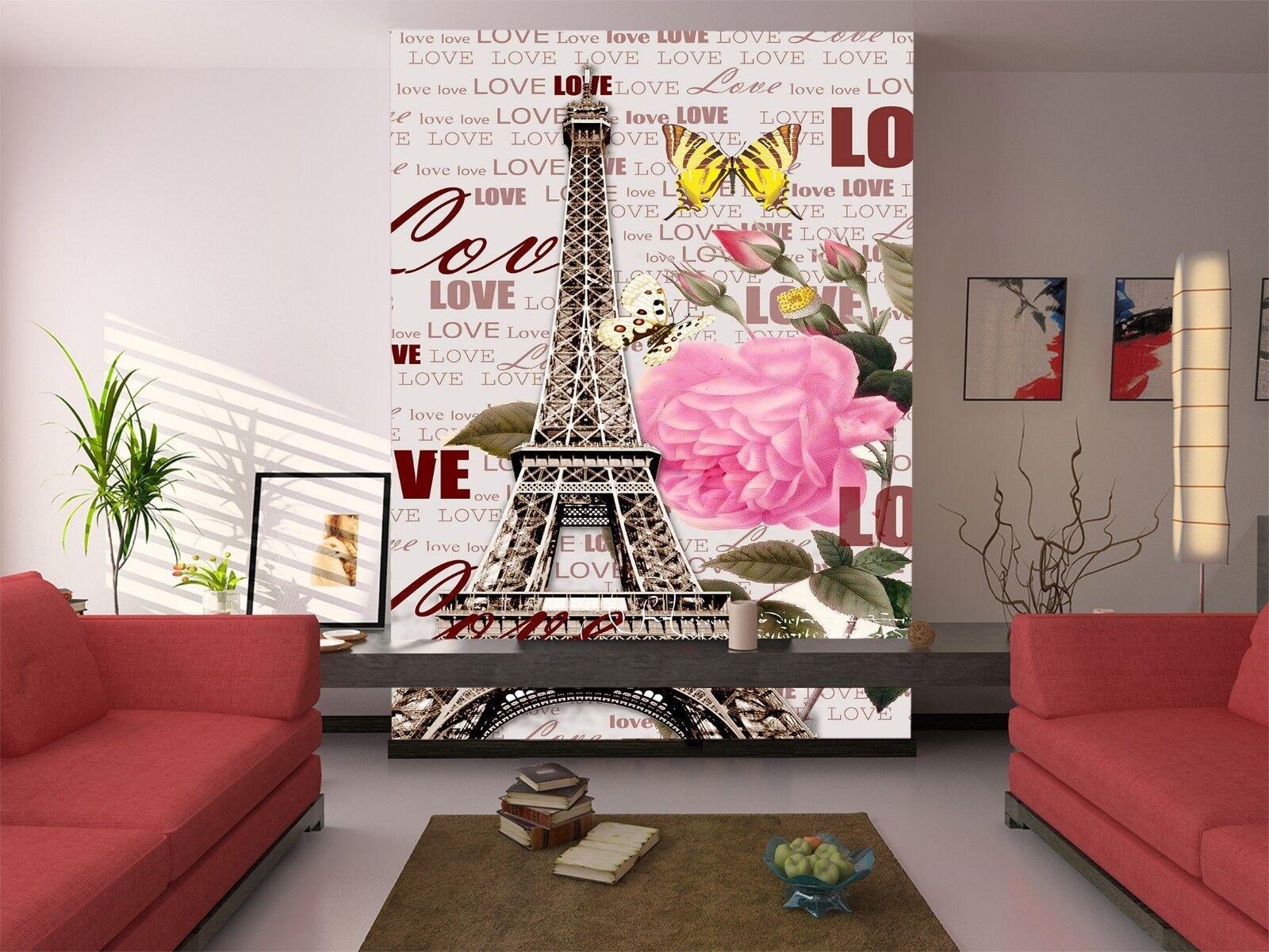 3D Eiffel Tower 727 Wallpaper Mural Wall Print Wall Wallpaper Murals US Lemon