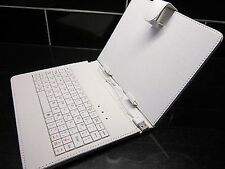 """White Micro USB Keyboard PU Leather Carry Case/Stand for 8"""" ICOO iCou7W Tablet"""