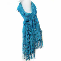 Scarfand's Cutout And Net Scarf With Mini Shiny Plate