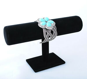 Image Is Loading T Bar Black Velvet Bracelet Bangle Holder Jewelry