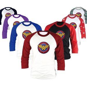 Details about Superhero DC Comics Wonder Woman 3/4 Sleeve Raglan Baseball T  Shirts Jersey Top