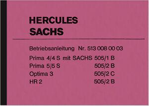 Hercules-Prima-4-4S-5-5S-Optima-3-HR-2-HR2-505-B-C-Bedienungsanleitung-Handbuch
