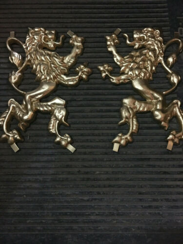 """Indoor//Outdoor Wall Decor Wrought Iron Gate Fence Aluminu Lions 10 3//8/"""" x 6 7//8/"""""""