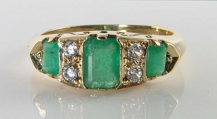 LARGE 9K 9CT gold COLOMBIAN EMERALD DIAMOND ART DECO INS RING FREE RESIZE