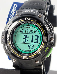 Casio-SGW-100B-3A2-Watch-COMPASS-Thermometer-Cloth-Band-Twin-Sensor-Green-New