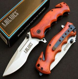 Spring Assisted Open Tactical Rescue Wood Handle Pocket Knife AJP502