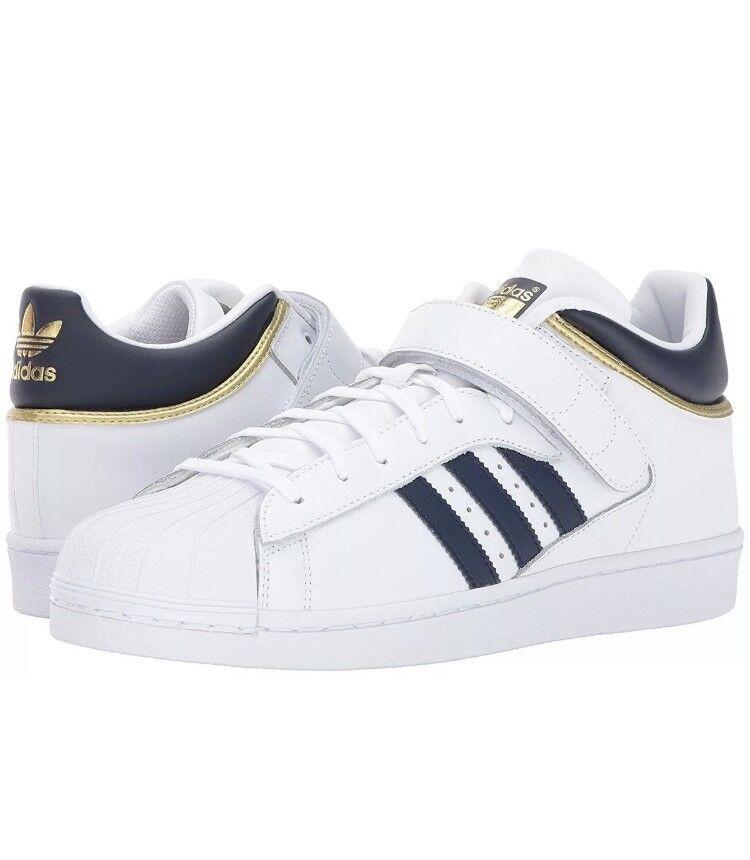 adidas pro shell männer größe 9 / & 10.5 schuhe, weiße / 9 kollegiale navy / gold by4383 neue 01c6e6